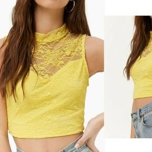 AMBIANCE APPAREL Yellow Sheer Floral Crop Top